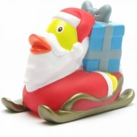 Badeente Weihnachtsmann auf Schlitten - Bild vergrößern