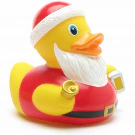 Badeente Weihnachtsmann mit Glocke und Laterne - Bild vergrößern
