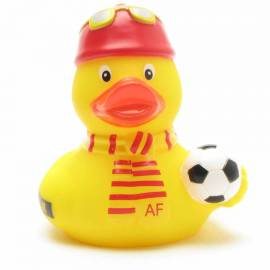 Badeente Fußball-Fan rot-gelb - Bild vergrößern