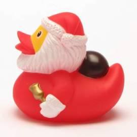 Badeente Weihnachtsmann mit Sack und Glocke - Bild vergrößern